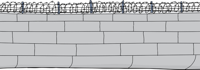 Isolated Wall with Barbed Wire
