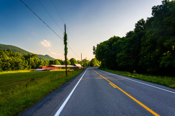 Farm field along country road in the rural Potomac Highlands of