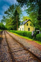 House along railroad tracks in Portland, Pennsylvania.