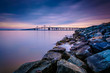 Long exposure of a jetty and the Chesapeake Bay Bridge, from San