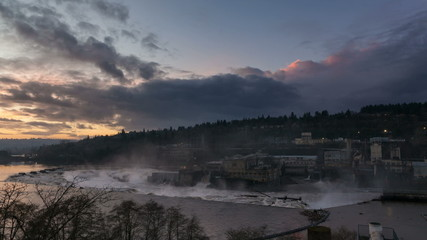Time-lapse of Sunset and Clouds over Willamette Falls in Oregon