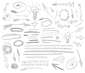 Set of graphic signs. Pencil. Vector illustration.