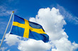 Swedish flag on blue summersky - 75005576