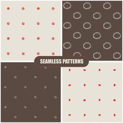 Seamless hand drawn patterns. Vector illustration.