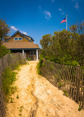 Sand path to a house in Ocean City, New Jersey.