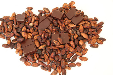 fine origin chocolate bar with cocoa beans