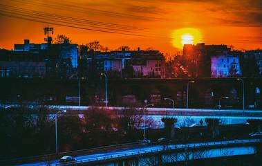 Vibrant sunset over West Philadelphia, Pennsylvania.