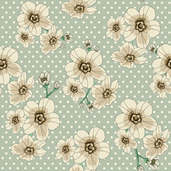 flower pattern with polka dot