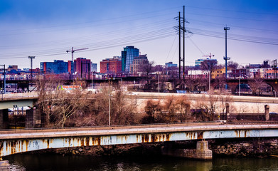 View of bridges over the Schuylkill River and West Philadelphia,