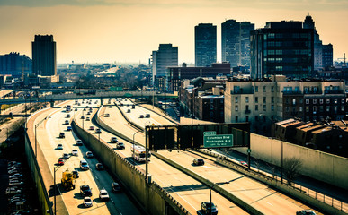 View of the Delaware Expressway from the Ben Franklin Bridge Wal