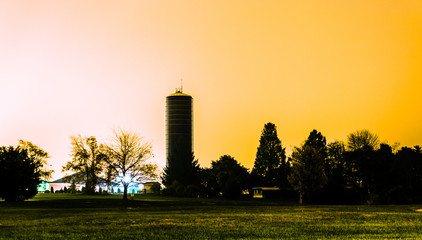 A water tower at night in Shrewsbury, Pennsylvania.