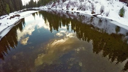 Forest reflection and country road Idaho winter river