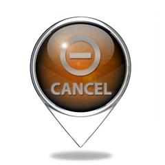 Cancel pointer icon on white background