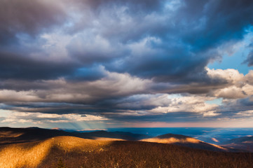 Beautiful winter sky over the Blue Ridge Mountains in Shenandoah