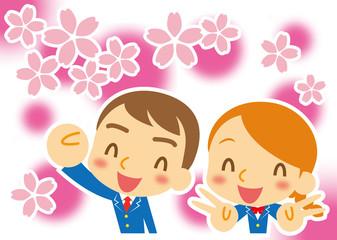 桜咲く ブレザーの学生