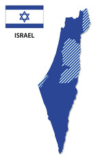 israel map with flag