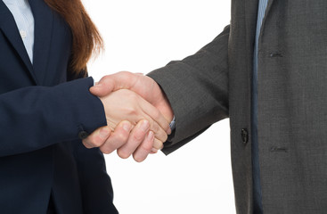 Handshake between asian woman and caucasian man. Isolated on whi