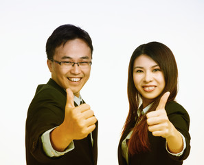 Asian business man and woman happy about work agreement. Isolate