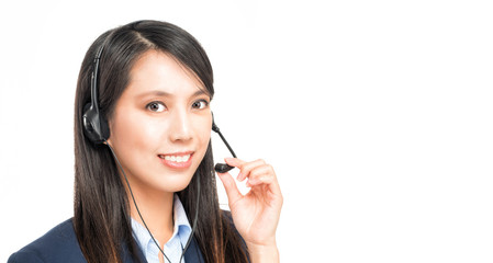 Portrait of asian woman customer service worker, call center smi