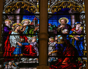 Jesus and children - stained glass in Burgos cathedral