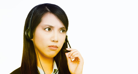 Portrait of asian woman customer service worker, call center thi
