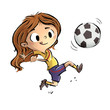 canvas print picture - niña jugando a fútbol