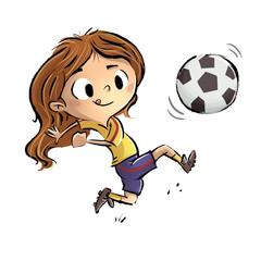 niña jugando a fútbol
