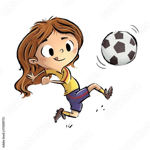 canvas print picture niña jugando a fútbol