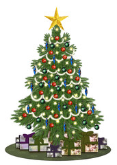 Decorated oldstyle christmastree with gifts