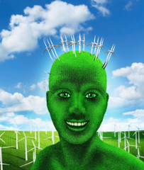 Green human's head on nature