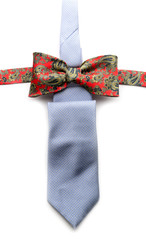 Grey necktie and red bow tie