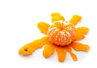 One peeled tangerine isolated on white