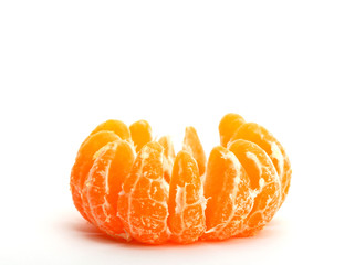 One peeled tangerine