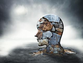 Brick silhouette of human head