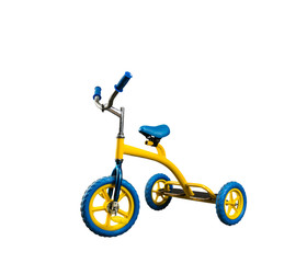 Yellow kid's bicycle isolated