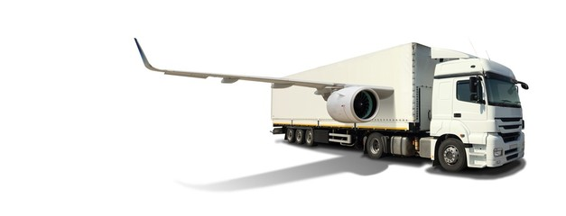 White Logistics Truck with Jet Wings