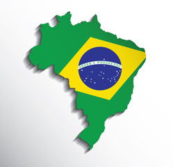 Map of Brazil with flag colors. Vector illustration.