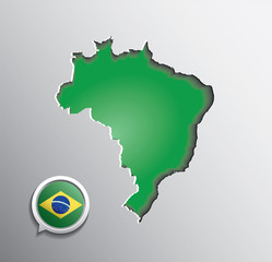 Map of Brazil and pointer with brazilian flag colors. Vector.