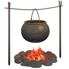 cauldron on a white background
