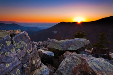 Sunset over the Appalachian Mountains and Shenandoah Valley from