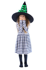 Little girl Witch in hat isolated on white