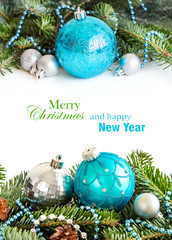 Turquoise and silver Christmas ornaments border