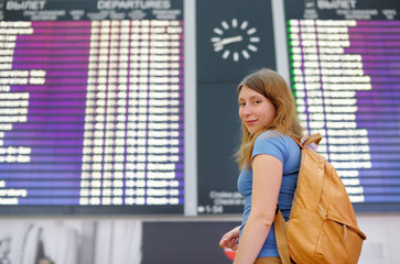 Young woman at the international airport