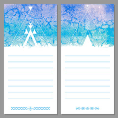Page templates are notepad, leaflets, cards. Aztec watercolor