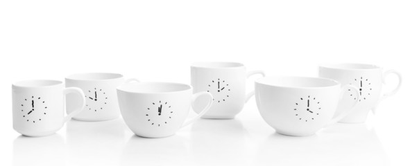 Coffee cups with time for coffee break, isolated on white