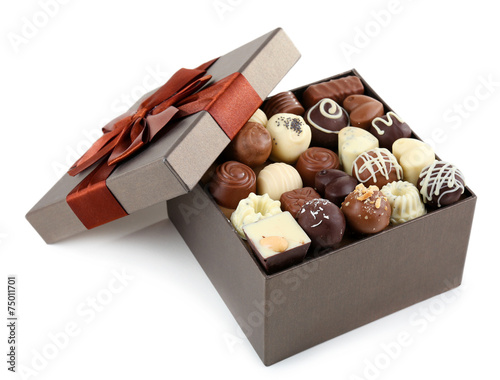 Delicious chocolate candies in gift box isolated on white - 75011701