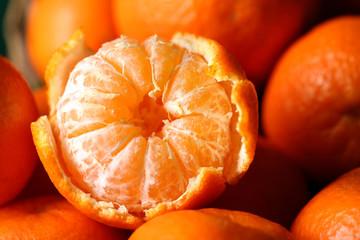 Fresh ripe mandarins background