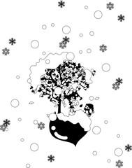 雪が降るバレンタインデー。雪だるま君と一緒に待ちわびる女の子。