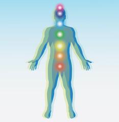 Human chakra points map. Vector illustration.