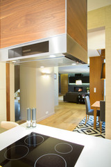 Induction hob in modern kitchen